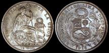 World Coins - 1915 FG-JR Peru 1/2 Sol - Republic Coinage - BU