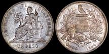 1894 Guatemala 1 Peso - Justice Seated - AU