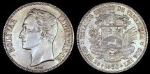 World Coins - 1936  Venezuela 5 Bolivar - Normal Date - AU Silver