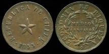 World Coins - 1853 Chile 1/2 Centavo AU