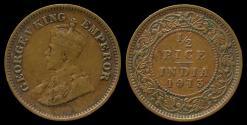 World Coins - 1913 India (British) 1/2 Pice XF