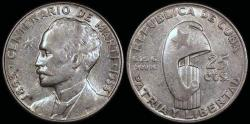 "World Coins - 1953 Cuba 25 Centavos ""Birth of Jose Marti Centennial"" Silver Commemorative BU"