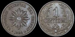 World Coins - 1924 (p) Uruguay 1 Centesimo - Decimal Coinage - AU