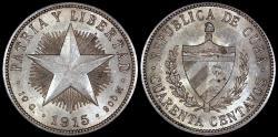 World Coins - 1915 Cuba 40 Centavo - 1st Republic - Low Relief Star - AU