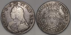 World Coins - 1733 L France 1 Ecu - Louis XV - Bayonne Mint - F