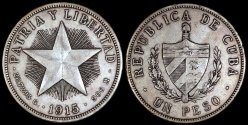 "World Coins - 1915 Cuba 1 Peso - ""Star Peso"" - High Relief Star - XF"
