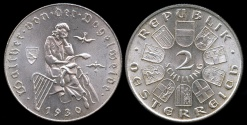 World Coins - 1930 Austria 2 Schilling Commemorative Silver Issue - 7th Centennial - Death of Vogelweide BU