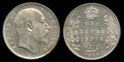 World Coins - 1907 C India (British) 1 Rupee AU