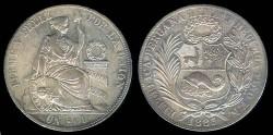 World Coins - 1883 FN Peru 1 Sol XF