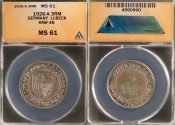 World Coins - 1926 A Weimar Republic 3 Reichsmark - 700 Years of Freedom for Lubeck Silver Commemorative ANACS MS61