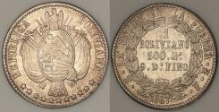 World Coins - 1867 PTS-FP Bolivia 1 Boliviano - Early Republic - UNC Silver