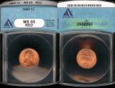 Us Coins - 1989 Lincoln Cent MS65 Red ANACS