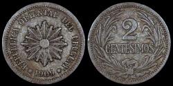 World Coins - 1909 A Uruguay 2 Centesimos - Decimal Coinage - VF