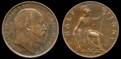 World Coins - 1910 Great Britain 1/2 Penny XF