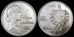 "World Coins - 1934 Cuba 1 Peso ""ABC"" AU"