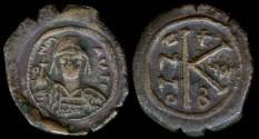 Ancient Coins - Maurice Tiberius Half Follis - Constantinople Mint