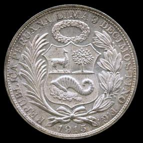 World Coins - 1915 FG Peru 1 Sol UNC