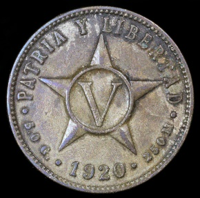 World Coins - 1920 Cuba 5 Centavos - 1st Republic - XF