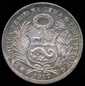 World Coins - 1917 FG Peru 1/2 Sol UNC