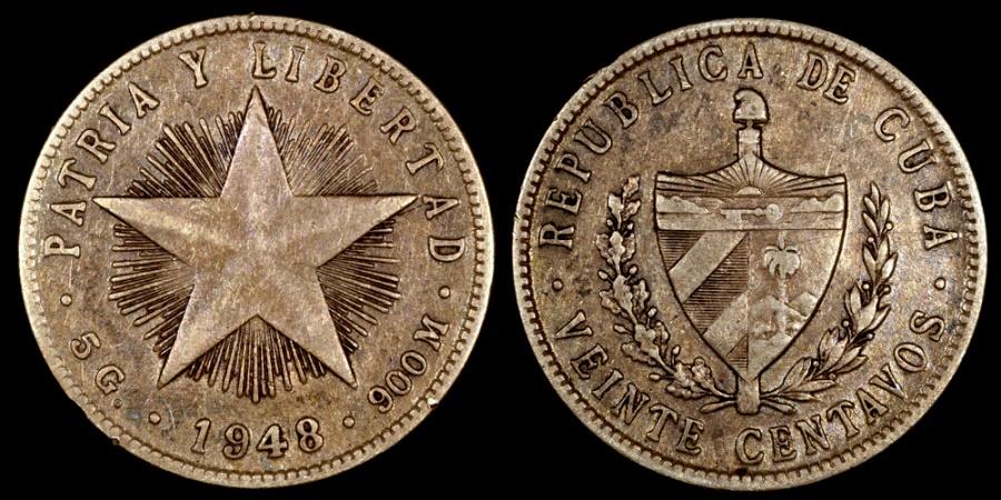 World Coins - 1948 Cuba 20 Centavos VF