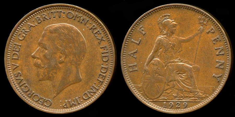 World Coins - 1929 Great Britain 1/2 Penny UNC
