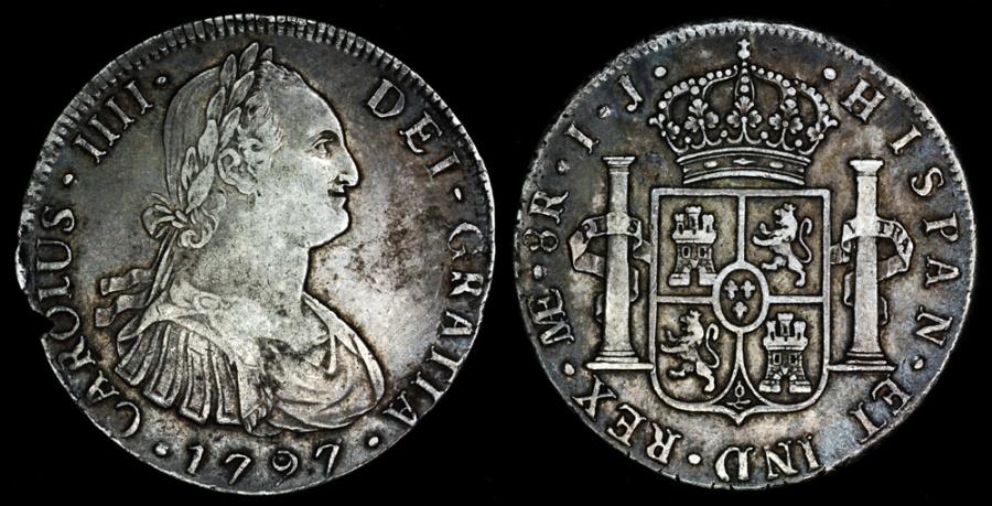 1797 IJ Peru Lima Mint 8 Reales Of Charles IIII XF