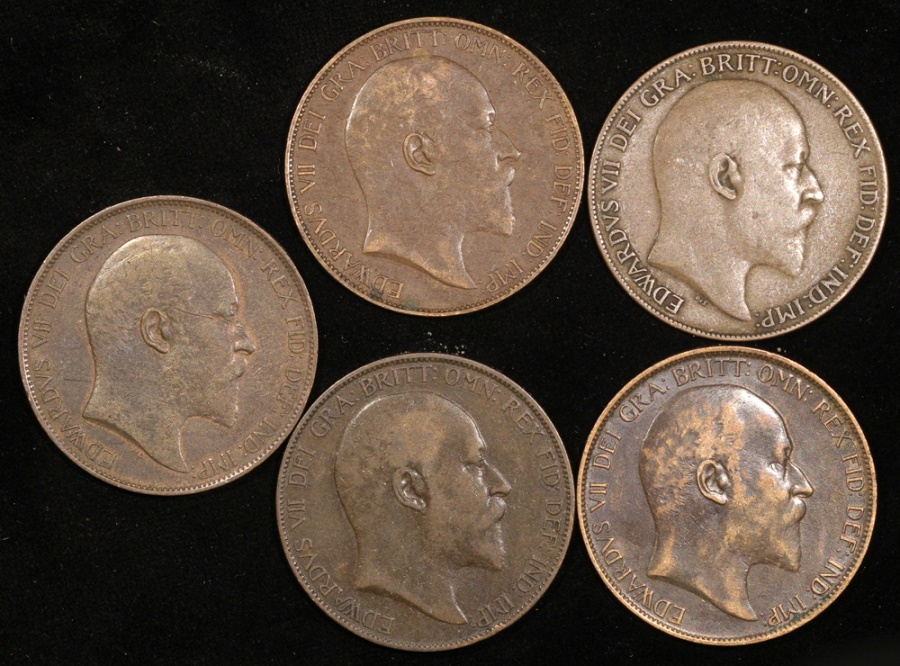 1902-1909 Great Britain – Group of Edward VII 1 Penny Coins