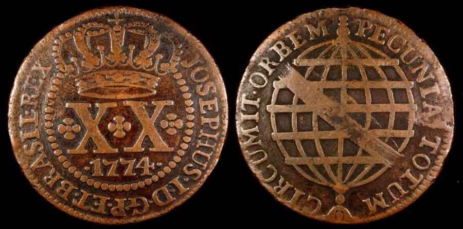 World Coins - 1774 Brazil 20 Reis - Jose I - XF