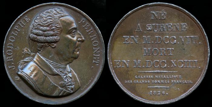 World Coins - 1826 France – Jean Rodolphe Perronet (French Engineer) by Etienne Jacques Dubois