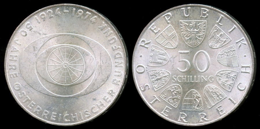 World Coins - 1974 Austria 50 Schilling - 50th Anniversary of Austrian Broadcasting Silver Commemorative BU