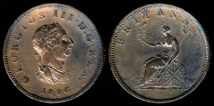 World Coins - 1806 Great Britain 1/2 Penny PR60