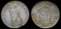 World Coins - 1836 CUZ-B Peru 4 Real XF