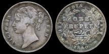 World Coins - 1840 India (British) 1 Rupee XF