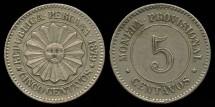 World Coins - 1879 Peru 5 Centavos AU