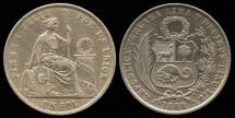 World Coins - 1868 YB Peru 1 Sol AU