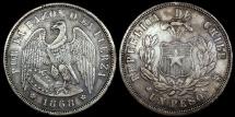 """World Coins - 1868 Chile 1 Peso - """"Condor Peso"""" - XF"""