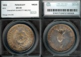 World Coins - 1889 Paraguay 1 Peso SEGS MS60