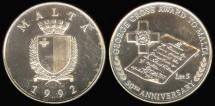 World Coins - 1992 Malta 5 Liri Commemorative Silver Proof
