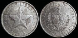 World Coins - 1915 Cuba 40 Centavo - 1st Republic - Medium Relief Star - VF