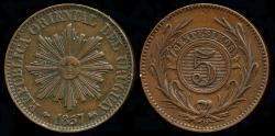 World Coins - 1857 D Uruguay 5 Centesimos AU