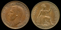 World Coins - 1944 Great Britain 1 Penny BU