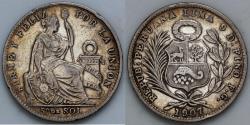 World Coins - 1907 FG Peru 1/5 Sol - XF