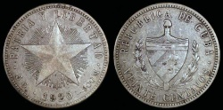 World Coins - 1920 Cuba 20 Centavos - 1st Republic - XF