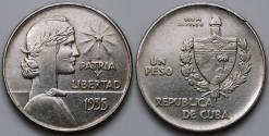 """World Coins - 1935 Cuba 1 Peso - """"ABC"""" Peso - AU Silver"""