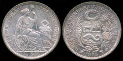 World Coins - 1915 FG Peru 1/2 Sol UNC