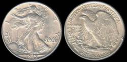 Us Coins - 1942 Walking Liberty Half Dollar AU