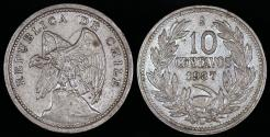 World Coins - 1937 Chile 10 Centavos XF