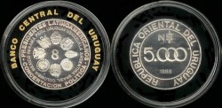 World Coins - 1988 Uruguay 5000 Nuevo Pesos - Silver Proof
