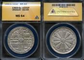 World Coins - 1969 So Uruguay 1000 Pesos - Silver F.A.O. Issue - ANACS MS64
