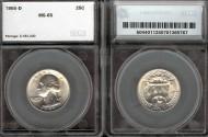 Us Coins - 1955d Washington Quarter SEGS MS65